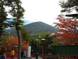 Mount Fuji's peak, seen from the shrine at the 5th Station