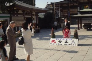 Family celebrating the 7-5-3 Ceremony. Notice the little girl in her pretty kimono. She is the star of the day!