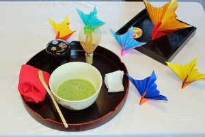 The simple and beautiful tea ceremony set at the NARA Visitor Center