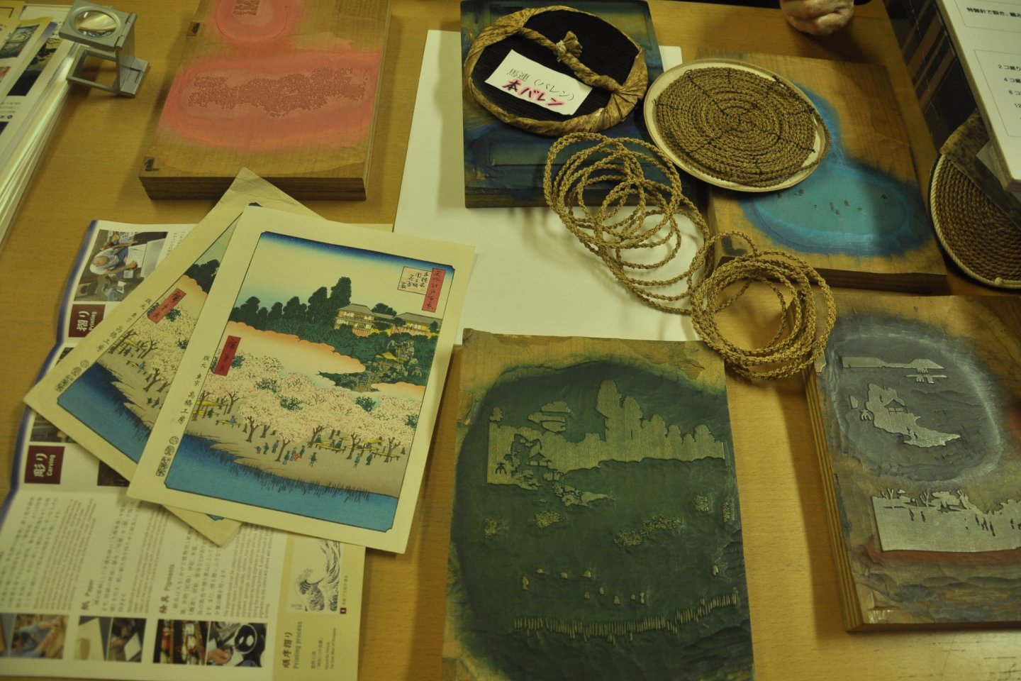 Different tools for making woodblock prints