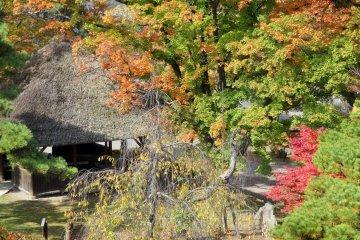<p>Маленькая, покрытая соломой крыша дома отдыха на территории угодий</p>