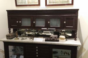 Old cupboard and equipment used by dentists in Japan in years past