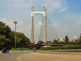 The Kiba Park Bridge connects the northern and southern parts of the park