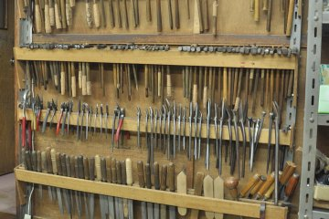 <p>Different etching tools and hammers for various uses</p>