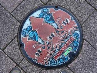 ฝาครอบท่อของเมืองฮะโกะดะเตะ เมืองท่าที่สำคัญของเกาะฮอกไกโด