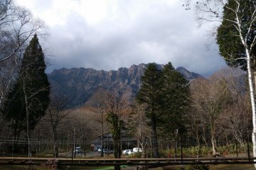 <p>Outside the Ninja house there are stunning views of the opposite mountains</p>
