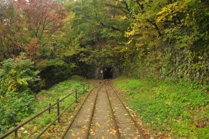 The tunnel that leads to the exit of the tour