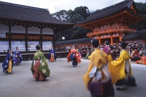 Kemari hajime, an elegant nobleman's game, is played during the New Year festivities
