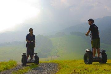 <p>Riding Segways at Kiroro Resort</p>