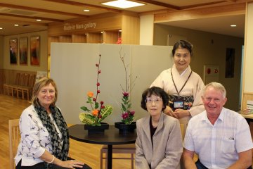 <p>The ikebana instructors take part in the moment</p>