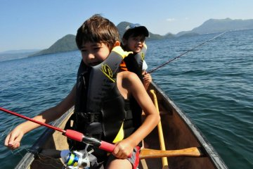 Canoeing on Lake Toya
