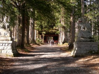 The inner entrance of the shrine, also marks the start of majestic cedar-lined path (杉並木; suginamiki).