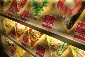 Whole wide selections of crepes in Harajuku.