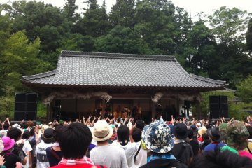The smallest stage, decorated by dragons and out of the way in a peaceful secluded area, until the band starts that is