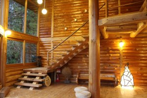 The Log House's common space. A wood burning fireplace/stove, a swing, enormous windows and stools and pillows for sitting on the floor are available