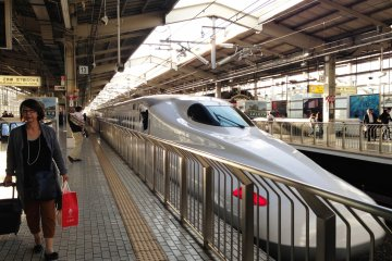 <p>The Shinkansen or bullet train at Kyoto</p>