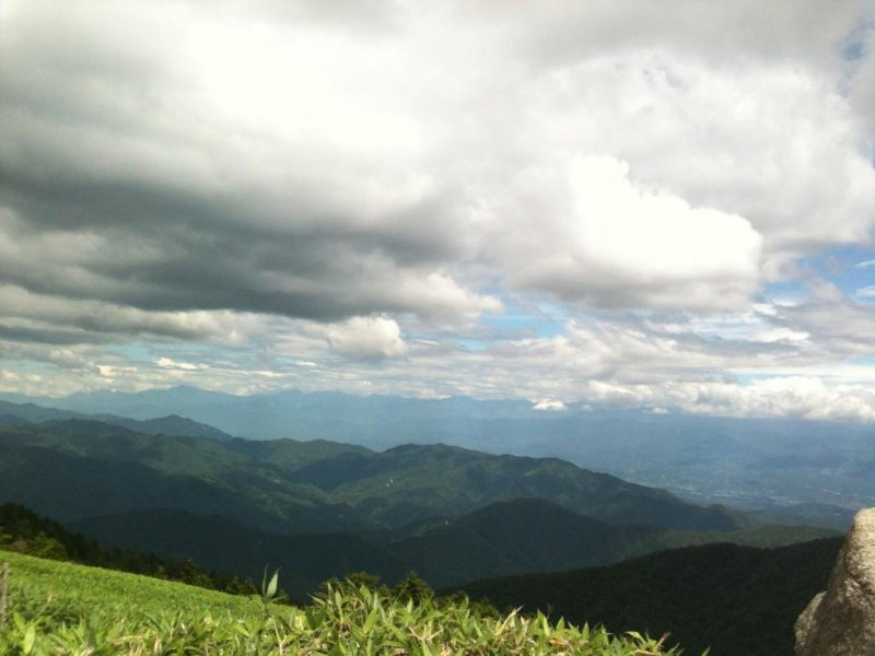 Looking down from Fujimidai to the Iida Valley as clouds roll in