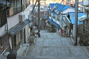 Looking down one of the stairway streets of the town below Hozanji Temple