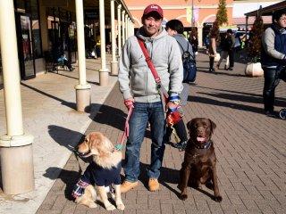 강해 보이는 개를 두마리 데리고 있는 오빠