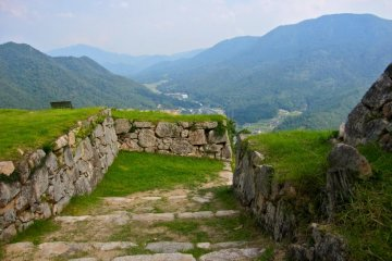 Looking back down from the Otemon Gate, the northern entrance to Takeda Castle