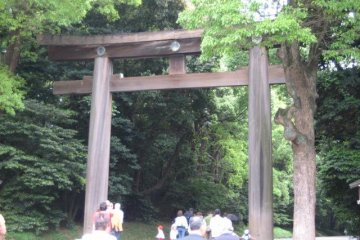 <p>Huge torii&nbsp;(gate) at the entrance to the shrine grounds</p>