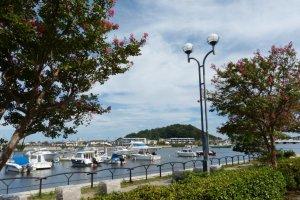 遊歩道から見た野島と釣り船