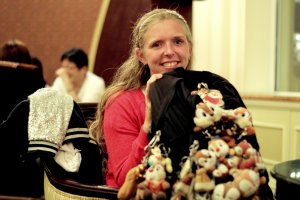 Meeting in the Dreamers Lounge of the Tokyo Disneyland Hotel, Nele showed me her bag