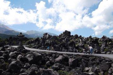 <p>A path around the rocks</p>