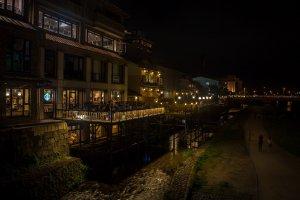 La terrasse du restaurant Tousuiro sur la rivière Kamo