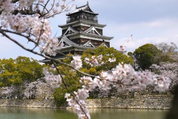 Enjoy sakura—and Wi-Fi access—at the tower of Hiroshima Castle.