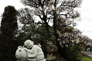 Cute statue under a white plum tree