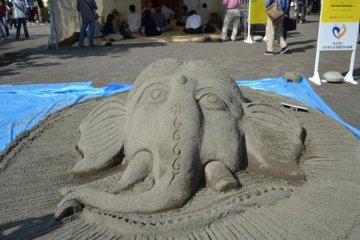Sand-Art depicting Lord Ganesha