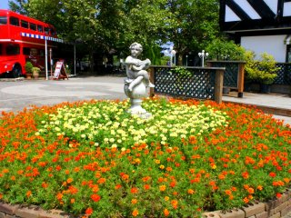 The beautiful flower bed in the middle of the village