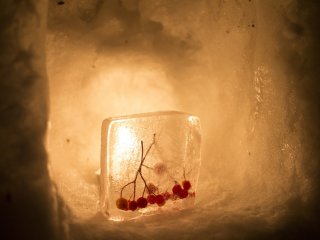 The warm candle glow illuminates the frozen berries