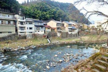The Yoshida River that runs through the center of Gujo Hachiman
