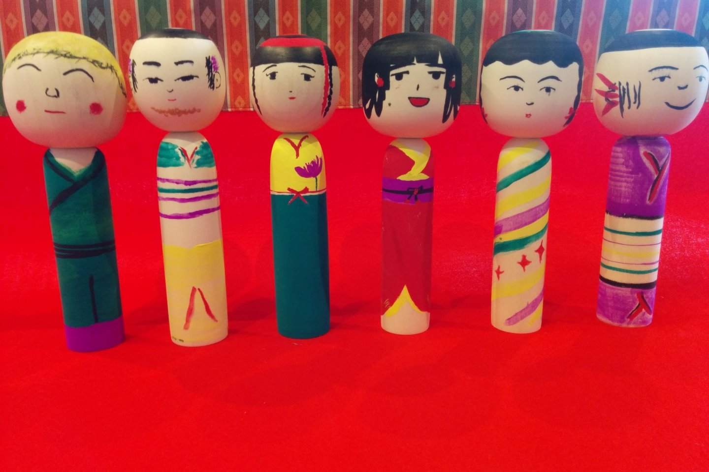 My group\'s original kokeshi. Mine is on the far left