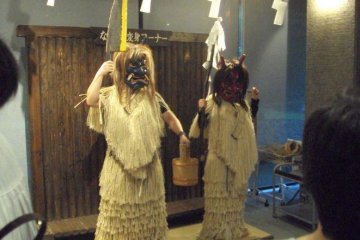 <p>Namahage photo area. Dress as a Namahage and don&#39;t forget your knife!</p>