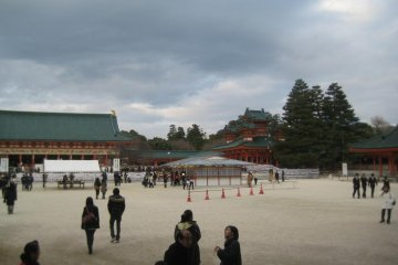 Spacious courtyards in the shrine