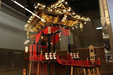 Festival omikoshi (portable shrine) on display