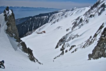 The Senjojiki Ropeway Station and Hotel from the top of the Cirque (April)