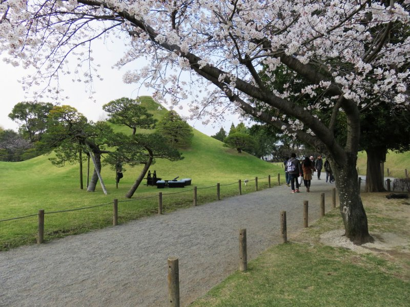 Take a stroll with a view of a replica of Mount Fuji
