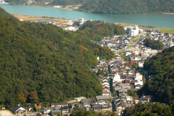 The valley view of Kinosaki Onsen town taken from the nearby ropeway
