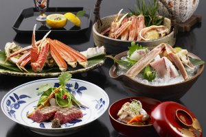 Fresh Matsuba Crab & Tajima Beef Kaiseki  at Nishimuraya Honkan. Matsuba Crab available from 7 Nov - 31 March.