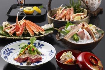 Fresh Matsuba Crab & Tajima Beef Kaiseki  at Nishimuraya Honkan. Matsuba Crab available from 7 Nov - 31 March.
