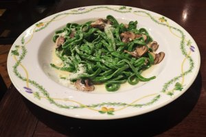Delicious spinach fettuccine in mushroom cream sauce