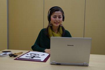 A participants practices online shodo via skype
