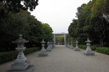 Entering Izanagi Shrine, dedicated to the divine creators of Japan