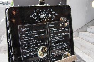 The menu at Restaurant 8ablish