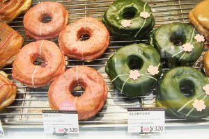 Strawberry and green tea donuts at Doughnut Plant
