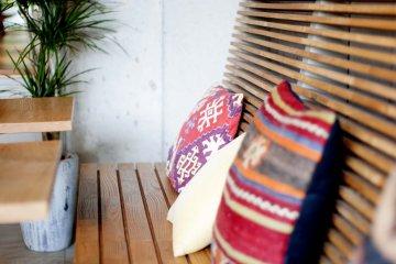 Bright cushions add a dash of colour